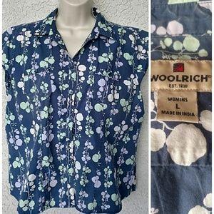Woolrich Blue Floral Button Down Shirt Cap Sleeve